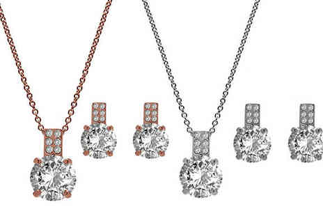 Lily Spencer - 18K Rose Gold or White Gold Pendant and Earrings Set with Crystals From Swarovski - Save 83%