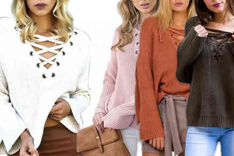 Bazaar me - Lace Up Slouchy Jumper in 4 Colours - Save 83%