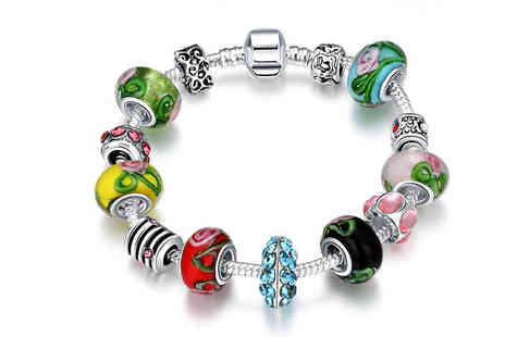 Van Amstel diamond - Colourful Crystal Charm Bracelet - Save 90%