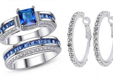 Your Ideal Gift - 2.5ct Blue Simulated Sapphire Royalty Duo Ring Set with FREE Earrings - Save 94%