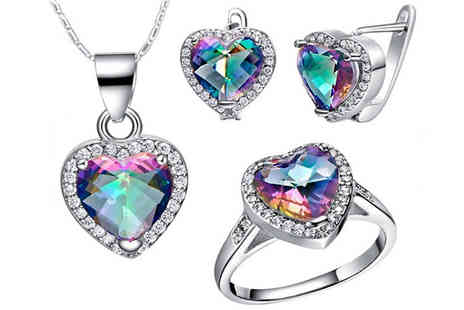 Fakurma UK - 18K White Gold Plated Simulated Mystic Topaz Jewellery Set - Save 93%
