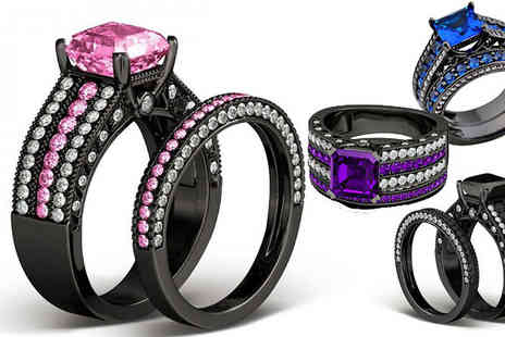 Fakurma UK - Black Simulated Crystal Ring in 4 Colours - Save 92%