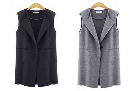 Bazaar me - Boyfriend-Style Sleeveless Jacket in 2 Colours, 5 Sizes - Save 58%