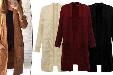 Bazaar me - Long Line Chunky Cable Knit Cardigan in 4 Colours - Save 80%