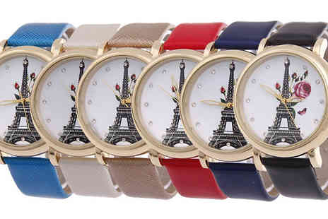 Trendy Banana - Floral N Eiffel Dial Watch in 6 Colours - Save 78%