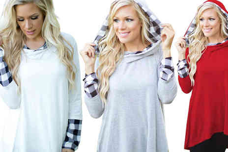 Bazaar me - Oversized Hoodie with Check Detailing in 3 Colours, 4 Sizes - Save 77%