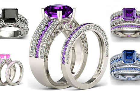 Fakurma - Rhodium-Plated Ring Set Available in Four Colours And Five Sizes - Save 94%