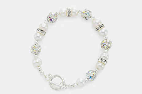 pearlshed - Pearl and Crystal Bracelet Available Four Designs - Save 84%