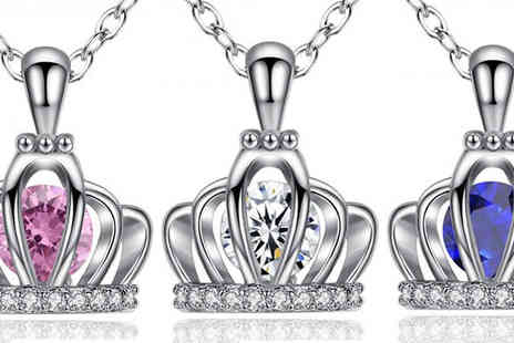 Your Ideal Gift - 1.5ct Simulated Sapphire Crown Pendant - 3 Colours - Save 90%