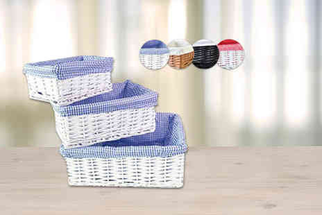 ViVo Technologies - Complete wicker storage basket set with removable - Save 60%