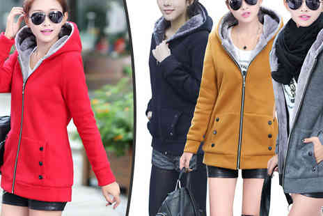 Bazaar me - Fleece Lined Hooded Coat in 4 Colours, 5 Sizes - Save 72%