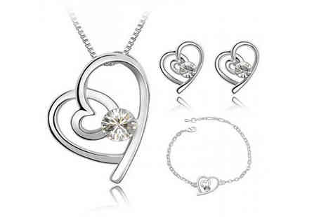 Shapelle - 18K White Gold Plated Crystal Heart Jewellery Set - Save 93%