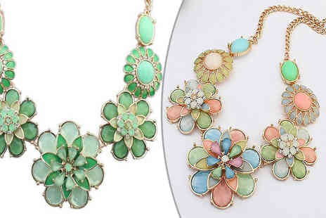 Shapelle - Floral Statement Necklace Available in two Colours - Save 84%