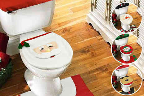 Fusion - Three Piece Christmas Toilet Seat Cover Available in Four Designs - Save 83%