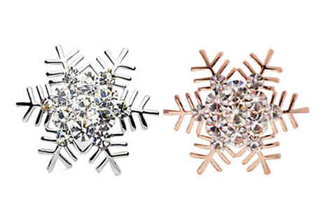 India Rose Designs - Simulated Crystal Snowflake Brooch in 2 Colours - Save 76%