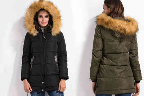 MY FASHION ACCESS FINEST - Faux Fur Trim Brianna Winter Coat - Save 58%