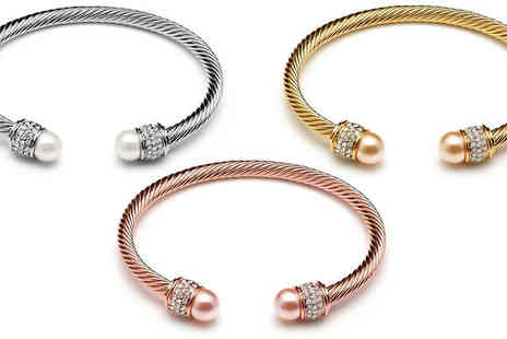 Lily Spencer - 18K Gold Plated Mesh Bangle With Swarovski Pearls Three Colours - Save 78%