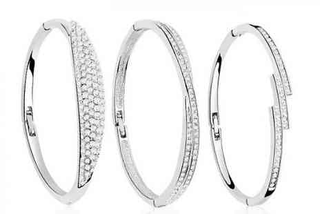 Fakurma - Swarovski Elements Crystal Bangles Choose from Three Designs - Save 80%