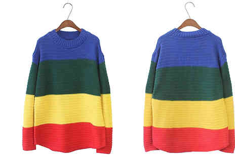 Bazaar me - Long Sleeve Rainbow Print Jumper - Save 80%