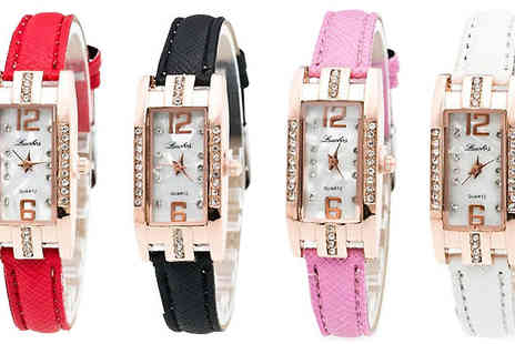 Trendy Banana - Laura Rectangular Dial Watch Choose Four Colours - Save 82%