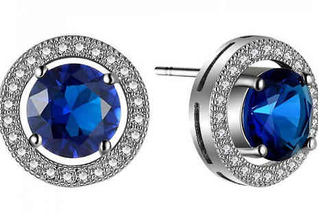 Your Ideal Gift - 2.5ct Simulated Blue Sapphire Rhodium Plated Earrings - Save 90%
