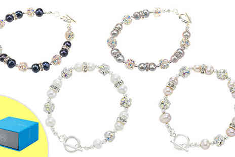 pearlshed - Freshwater Pearl and Simulated Crystal Bracelet with Gift Box - Save 84%