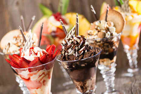Barnams Cafe World of Ice Cream - Two gourmet ice cream sundaes and coffees - Save 46%