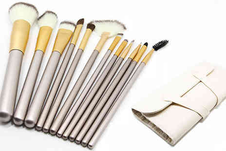 Doohickey Hut - 12 Champagne Make Up Brush Set with Bag - Save 78%