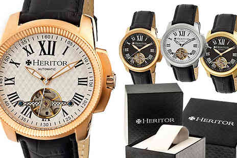 Ideal Deal - Heritor Automatic Franklin Mens Semi Skeleton Leather-Strap Watch Six Models - Save 90%