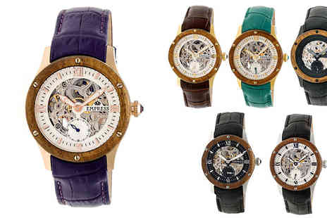 Ideal Deal - Empress Victoria Ladies Wood Bezel Automatic Skeleton Watch Six Designs - Save 92%
