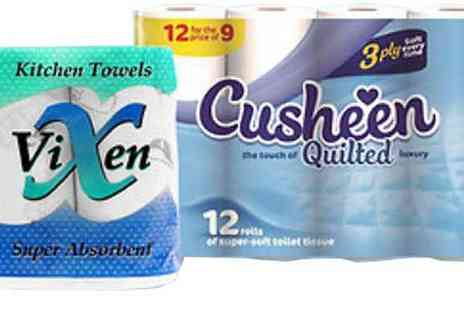 Global Merchant Support - Cusheen Three Ply Toilet Roll and Vixen Two Ply Kitchen Roll Two Options - Save 62%