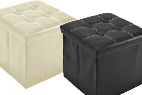 Fusion - Foldable Ottoman Storage Bench Black or Cream - Save 78%