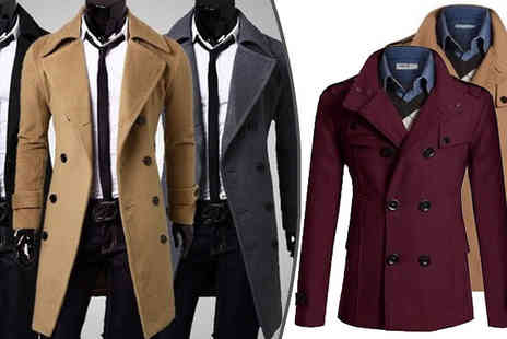 Marcus Emporium - Mens Double Breasted Coats Two Styles Four Colours - Save 67%