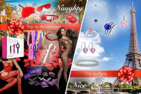 Wowcher Direct - Mystery Valentines Gift Paris or Amsterdam getaway, lingerie, jewellery, adult toys and more - Save 0%