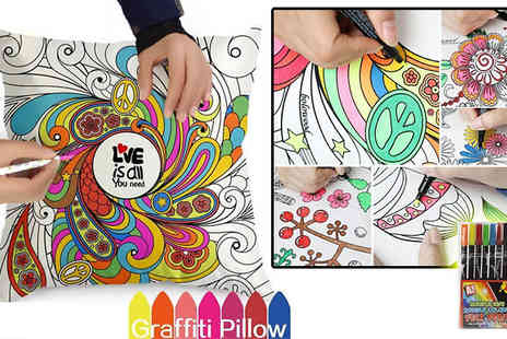 London Exchainstore - Graffiti Pillow Covers with Colouring Pens Available in 17 Patterns - Save 82%