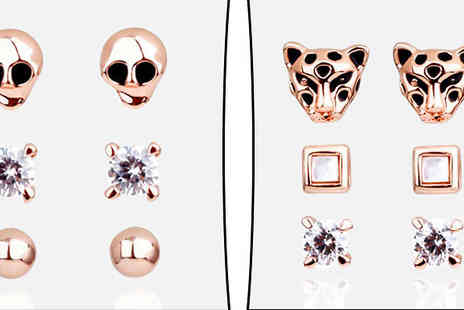 pearlshed - Rose Gold Plated Earrings Leopard or Skull Designs - Save 86%