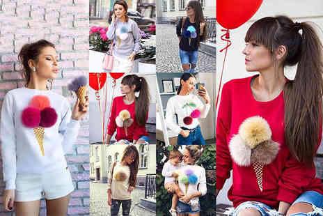 The Wholesale Group - An ice cream pom pom sweater choose from white, grey, red, blue and beige - Save 63%