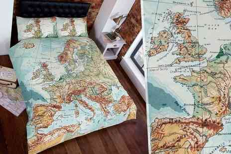 Linens R Us - Single, double or king size vintage map duvet set - Save 51%