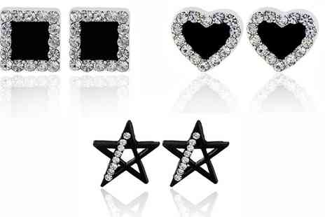 Groupon Goods Global GmbH - Black Stud Earrings with Crystals from Swarovski - Save 68%