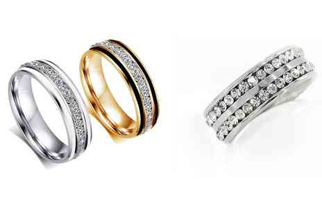 Groupon Goods Global GmbH - Decorated Rings with Crystals from Swarovski - Save 73%