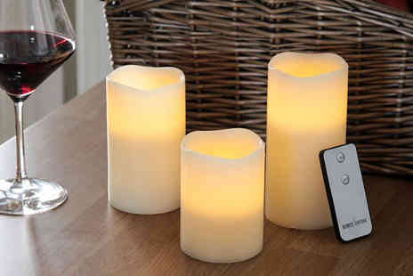 Ckent Ltd - Set of three remote controlled LED candles - Save 44%
