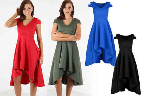 Bejealous - Bridget cold shoulder high low dress choose from black, khaki, blue or red - Save 63%