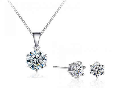Your Ideal Gift - Pendant necklace made with crystals from Swarovski or  a necklace and a pair of matching earrings  - Save 91%