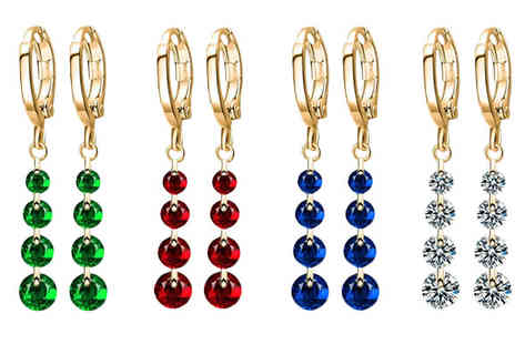 Trendy Banana - 22K Gold Plated Swarovski Elements Simulated Crystal Drop Earrings - Save 86%
