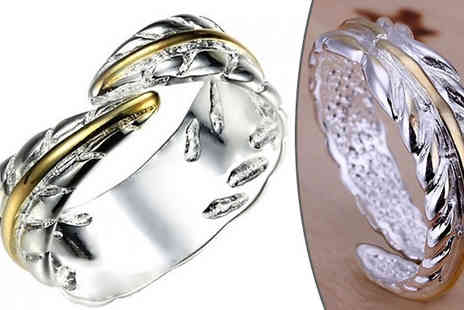 Trendy Banana - 18K White Gold Plated Adjustable Leaf Ring - Save 86%