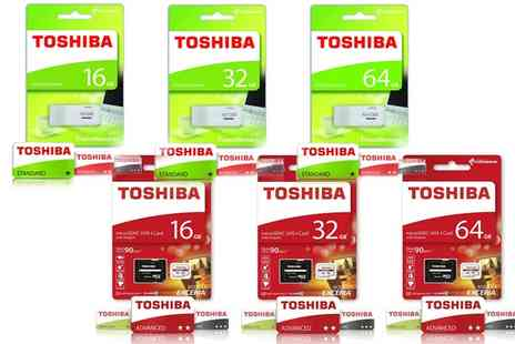 Groupon Goods Global GmbH - Toshiba TransMemory USB 2.0 USB Flash Drive or Exceria Class 10 Micro SD Card - Save 73%