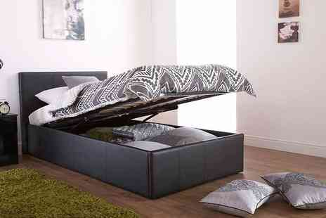 FTA Furnishing - Faux leather ottoman storage bed or include a mattress choose from four sizes - Save 62%