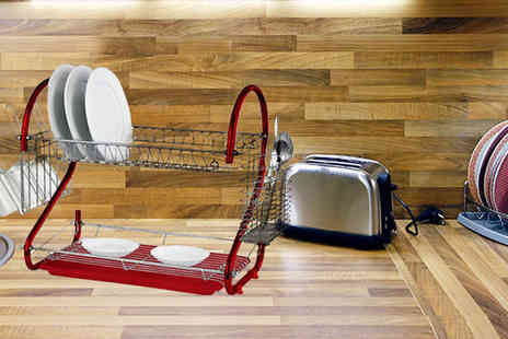 Home Empire - Two tier dish drainer rack choose from black, red and purple - Save 56%