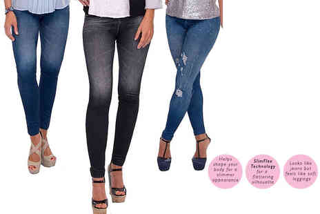 Eurotrade - 3 Slimn Lift Caresse Fleece Lined Jean Style Leggings choose from two options - Save 86%