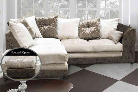 FurnitureStopUK - Belle Dior luxury crushed velvet corner sofa with optional footstool - Save 73%